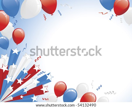 Red White Blue Balloons and 3D star burst. Horizontal layout version.