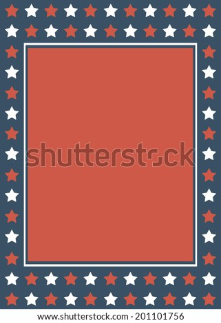 Red, White, Blue Star Background Custom Message Template