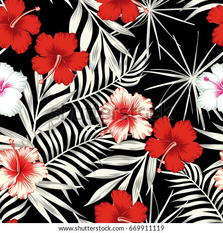 Red white hibiscus flowers on a black and white background of leaves. Seamless vector beach wallpaper pattern