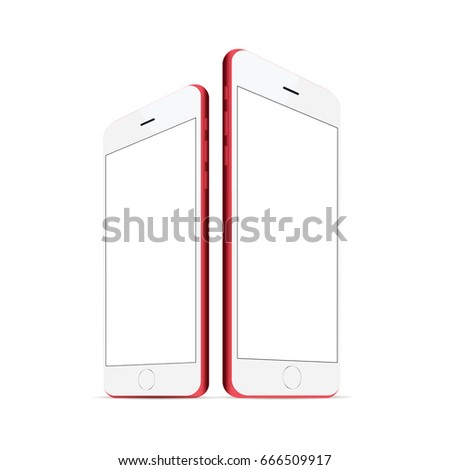 red white iphone with blank