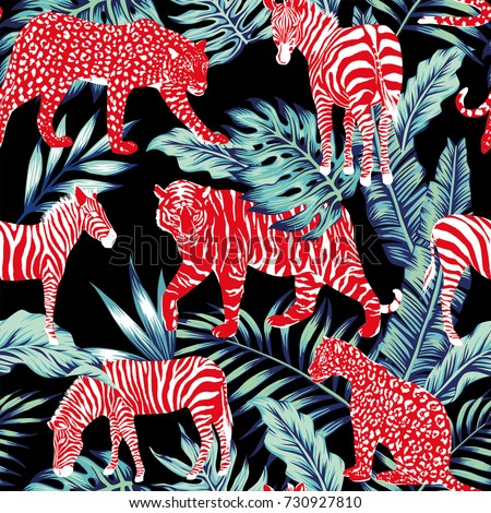 Red wild animal zebra, tiger, leopard, panther in the blue leaves jungle on the dark night background
