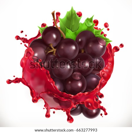 Red wine and grapes. Fresh fruit, 3d vector icon