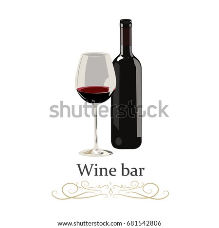 red wine bottle with glass on