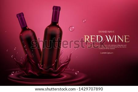 red wine bottles mockup two