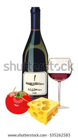Red wine, cheese, tomato