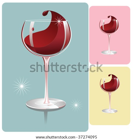 red wine glass on 3 different backgrounds