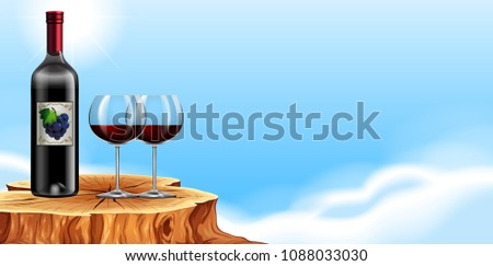 Red Wine in glasses on a tree stomp  illustration