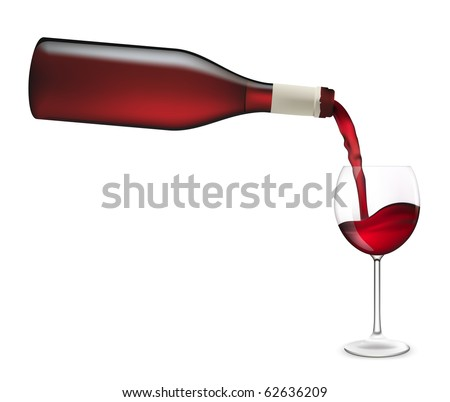 Red wine pouring into wine glass. Vector illustration.