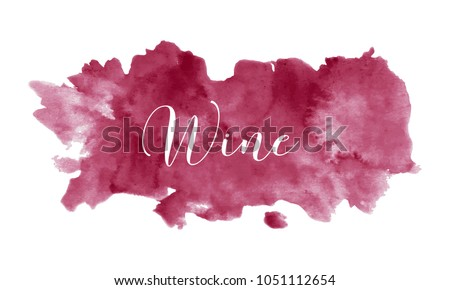 Red wine stain isolated on white background, vector illustration. Realistic wine texture watercolor grunge brush. Dark red mark, watercolour drawing.
