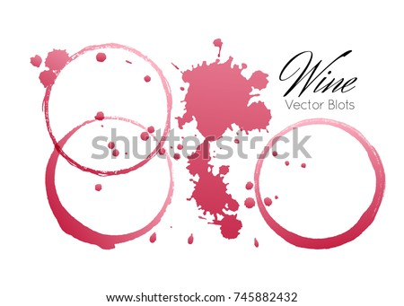Red wine stains and blots from a glass isolated on white background