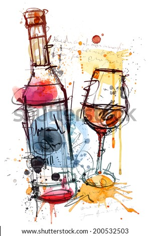 red wine water color