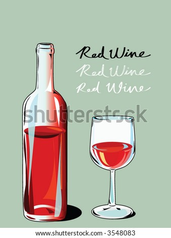 red wine with bottle