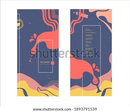 Red wines by the glass. Drinks menu. Pre-made abstract composition. Flat style with lines, abstract spots. Hand-drawn decorative elements. Vector template for menu, list, banner, booklet, flyer.  Foto d'archivio ©