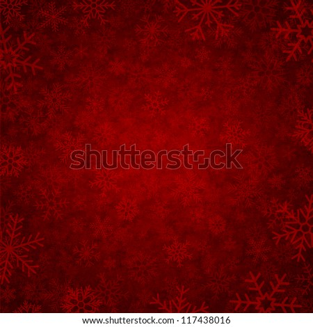 red winter background with beautiful various snowflakes