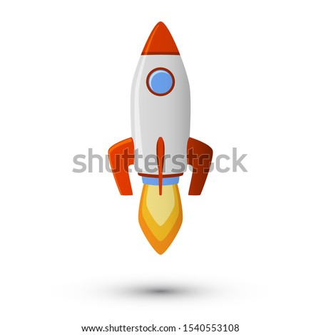 Red wite rocket icon, spaceship launcher vector design. Exploration rocket icon illustration isolated. Cartoon space ship take off, flying ricketship, launch fire flames. Spacecraft with blue porthole