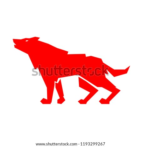 Red wolf logo. Conceptual logo design of a wolf symbol on white background. Vector illustration.