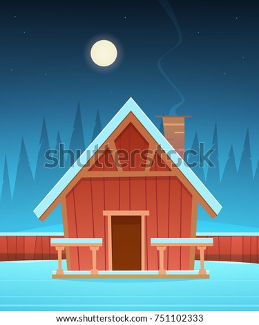 Red wooden cabin covered with snow, night winter landscape.