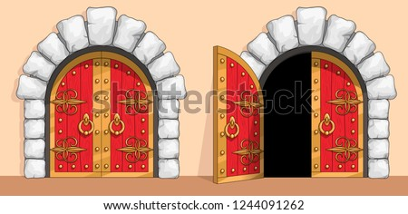 Red wooden gates of a medieval ancient castle or fortress. There is an arch of white stone around the door. A gate are decorated with wrought iron and gold. Open and closed doors. Vector illustration.