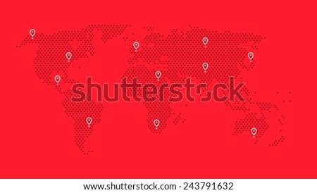 red world map with dots and