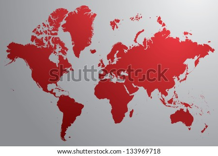 Red world map with gray background