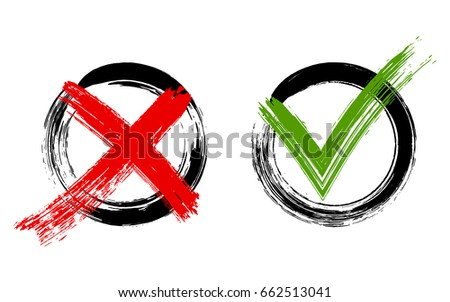 Red X and green brush symbolic OK icon in black frames on white. Cross  and tick signs, check marks graphic design. NO and YES rejection and approval symbol vector buttons for vote, election choice.