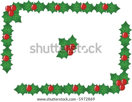 red x-mas berry border,vector