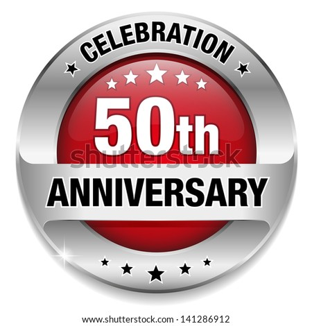 red 50 years anniversary button