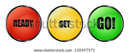 Red, yellow and green buttons ready set go! Stock foto ©
