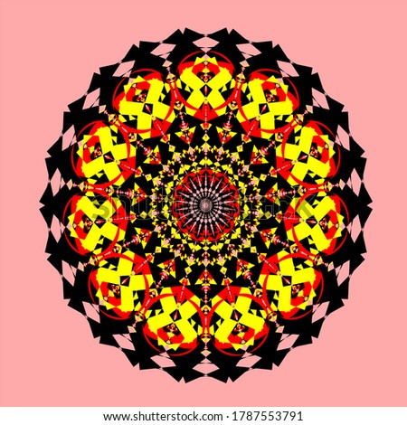 red yellow black mandala flower