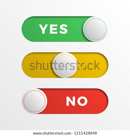 red/yellow/green switch interface buttons. 3d realistic yes/no slider. easy to edit and costomize vector illustration. eps10