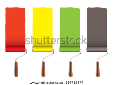 Red yellow greena and silver roller paint stripe icon