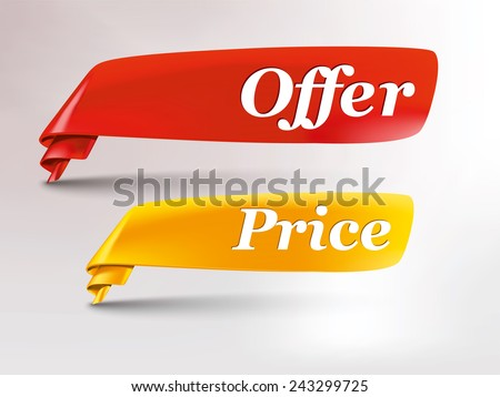 red & yellow ribbon with offer and price tag