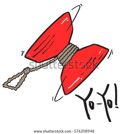 red yo yo toy sketch  isolated