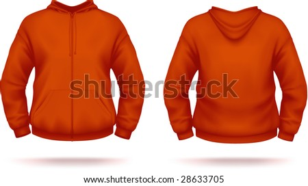 Red zipper hoodie with front pocket. VECTOR, contains gradient mesh elements. More clothing designs in my portfolio!