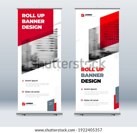 RedBusiness Roll Up Banner. Abstract Roll up background for Presentation. Vertical roll up, x-stand, exhibition display, Retractable banner stand or flag design layout for conference, forum.
