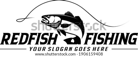 Redfish Fishing Logo Template. Fresh and Unique Redfish aka Reddrum fish Jump out of the water. Great to use as your Redfish Fishing Activity.