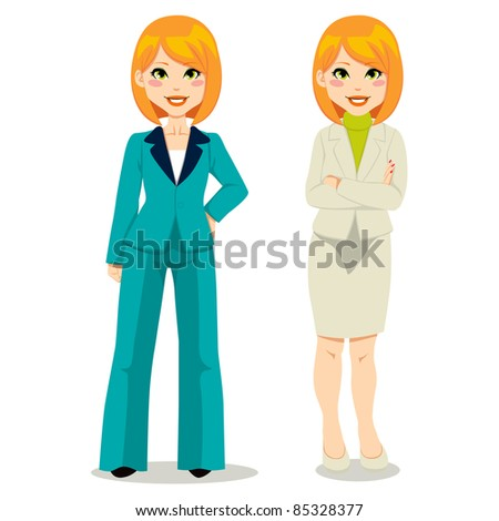 Redhair businesswoman in turquoise woman suit and beige skirt suit