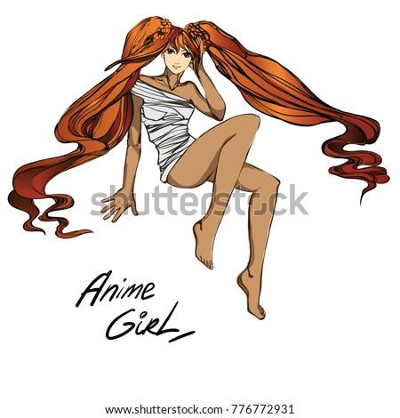redhead anime cartoon girl in