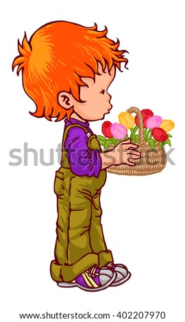 redhead boy with flower