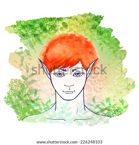 redhead elf fantasy vector