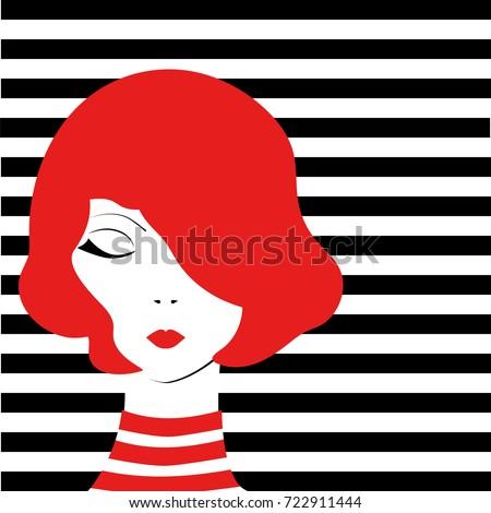 redhead fashion pop art girl on