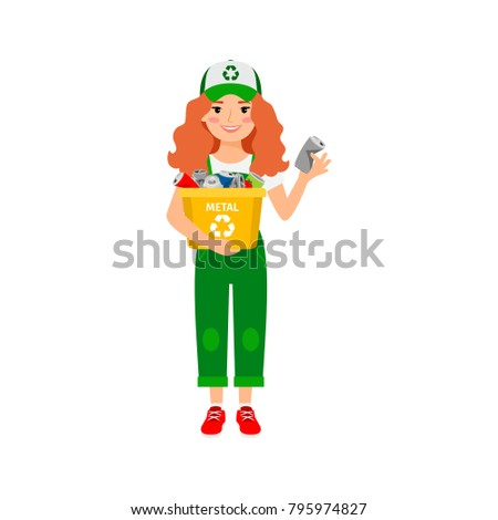 Redhead girl learning recycle trash vector illustration, on white background