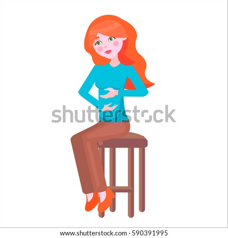 redhead pregnant woman with