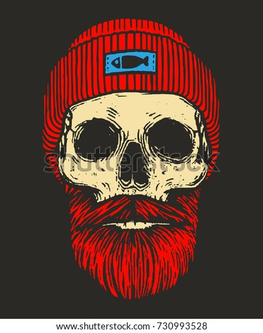 redhead sailor skull with