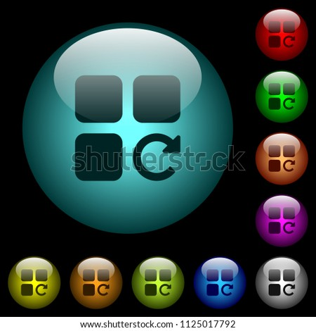 Redo component operation icons in color illuminated spherical glass buttons on black background. Can be used to black or dark templates