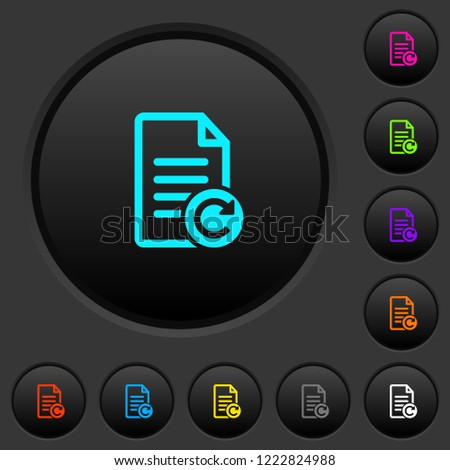Redo document changes dark push buttons with vivid color icons on dark grey background