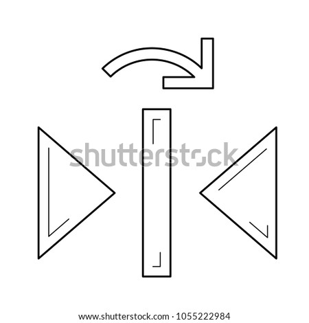 Redo reflect vertical vector line icon isolated on white background. Redo reflect vertical line icon for infographic, website or app.