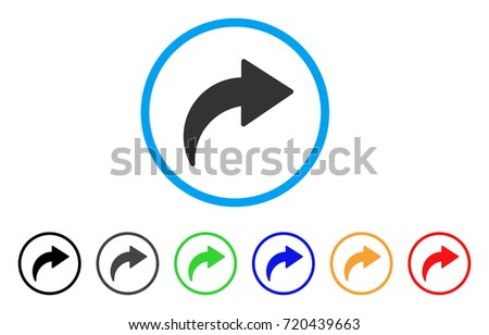 Redo rounded icon. Style is a flat redo gray symbol inside light blue circle with black, gray, green, blue, red, orange versions. Vector designed for web and software interfaces.