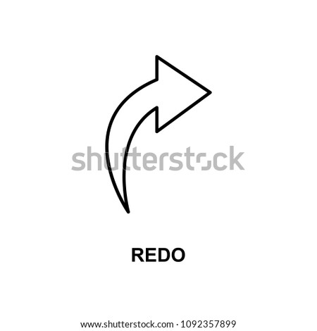 redo sign icon. Element of simple web icon with name for mobile concept and web apps. Thin line redo sign icon can be used for web and mobile on white background