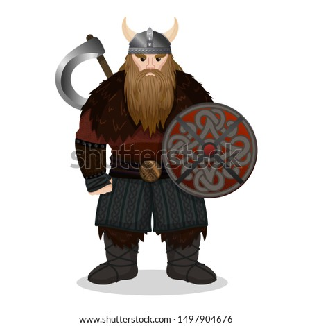 redoubtable viking with ax and